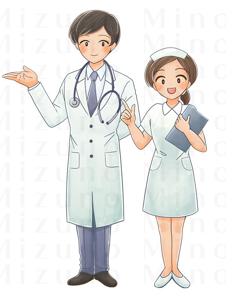 医師と看護師さんのイラスト
