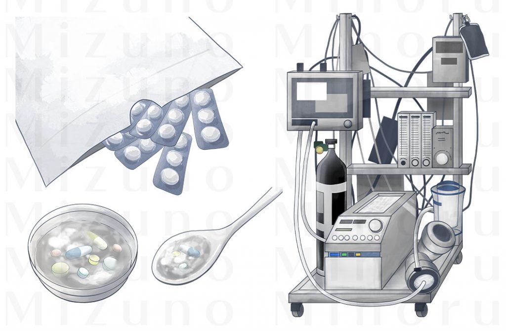 薬と体外式膜型人工肺のイラスト