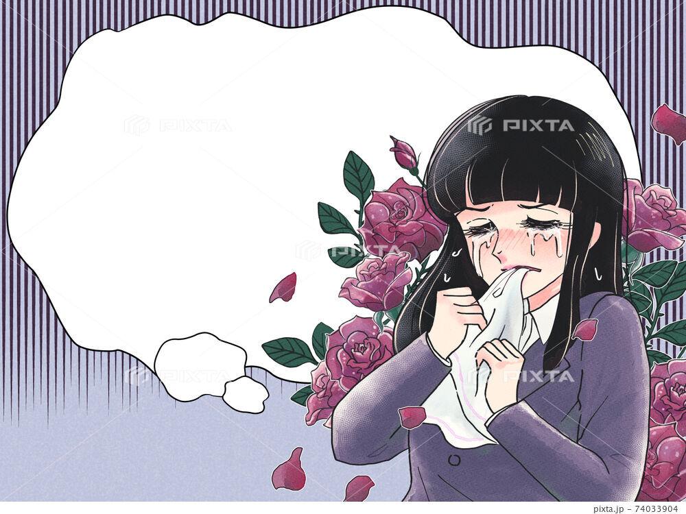 レトロ少女漫画風・ハンカチを噛んで悔しがるOL