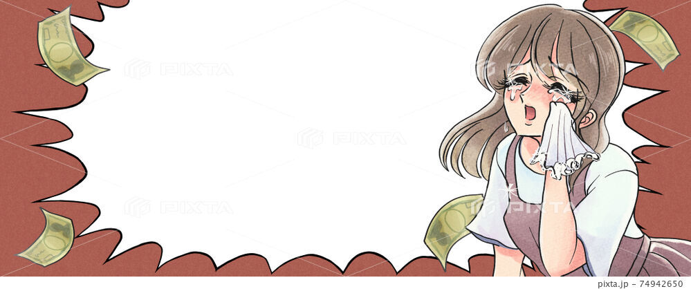レトロ少女漫画風・悲劇のヒロインのイラスト
